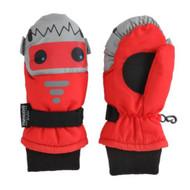 Aquarius Little Boys Red & Gray Shark Waterproof Snow & Ski Mittens