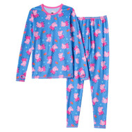 Cuddl Duds Girls Blue Peppa Pig Chill Chasers Thermal Underwear Base Layer