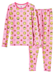 Cuddl Duds Chill Chasers Girls Pink Smile Face Thermal Underwear Base Layer