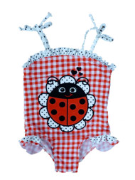Baby Buns Infant & Toddler Girls 1 PC Red Check Ladybug Swim Suit Swimming