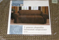 Brown Chenille 1 Piece Loveseat Slipcover, Slip Cover
