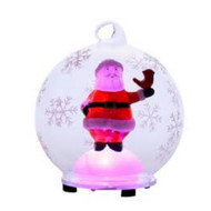 """4"""" Glass LED Color Changing Santa Snow Globe with Red Bird"""
