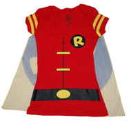 DC Comics Batman Junior Womens Red Robin Cape T-Shirt Halloween Tee Shirt