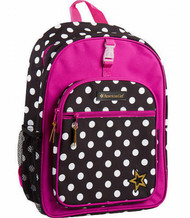 American Girl 16 inch Backpack Black Polka Dot With Hot Pink Accents
