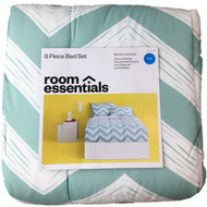 Blue & White Chevron Full Bed in Bag - Zig Zag Comforter Set Sheets Shams 8 pc