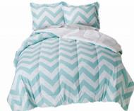 Blue & White Chevron Full Bed in Bag - Zig Zag Comforter Set Sheets Shams 8 pc
