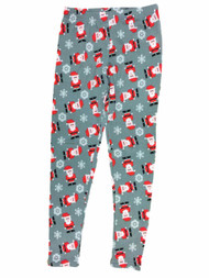 Junior Womens Gray Santa Claus Fleece Lined Christmas Holiday Leggings