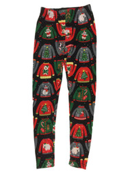 Junior Womens Black Ugly Christmas Sweater Fleece Lined Holiday Santa Leggings