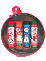 Christmas Elf Flavored Lip Balm Hot Cocoa, Candy Cane, Cookie, Minted 4 Pack