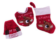 Babys First Christmas Rudolph the Red Nosed Reindeer Stocking Santa Hat & Bib