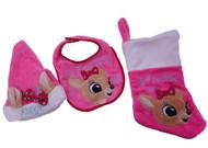 Babys First Christmas Pink Rudolph Clarice Reindeer Bib Hat & Stocking Set