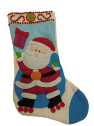 Blue Sequin Patchwork Santa Claus Christmas Holiday Stocking