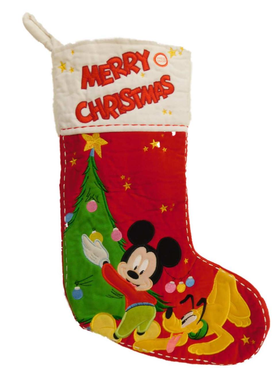 Dog Christmas Stocking.Red White Musical Disney Mickey Mouse Pluto Dog Christmas Stocking