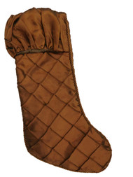 Dark Brown Quilted Satin Christmas Holiday Stocking