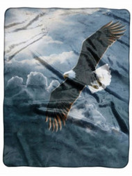 """American Heritage Royal Plush Eagle Throw Blanket """"Out of Storm"""" 50 in X 60 in"""