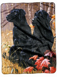 American Heritage Royal Plush Throw Blanket Black Lab Dogs 50 in X 60 in