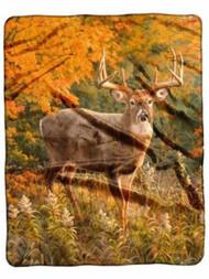 Royal Plush Raschel Throw Blanket 50 x 60 in American Heritage Reds Of Fall Deer