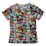 Rudolph The Red Nosed Reindeer Womens Comic Strip Christmas Holiday Scrub Top