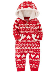 Carter Infant Girls Red Nordic Hearts Hooded Fleece Jumpsuit Coverall Outfit