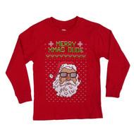 Boys Merry Xmas Dude Santa Claus Christmas Holiday Long Sleeve T-Shirt