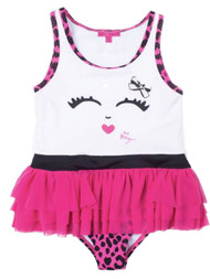 Betsey Johnson Infant & Toddler Girls Ruffle Pink Leopard Print 1 Pc Swim Suit