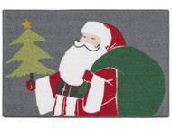 Christmas Gray Santa Claus Accent Throw Rug 20 in x 34 in Skid Resistant Mat