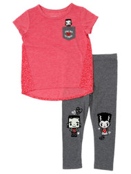 Toddler Girls Love You To Pieces Outfit Frankenstein Monster Shirt & Leggings