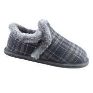 Toddler Boys Blue & Gray Plaid Flannel Loafer Style Slippers House Shoes