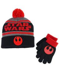 Boys Red & Black Cuff Pom Star Wars Winter Hat & Gloves Beanie Set