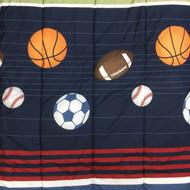 Blue Striped Sport Balls Full Bed in a Bag 7pc MVP Comforter Set Sheets Shams