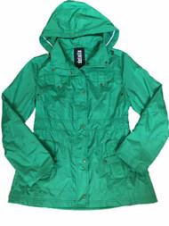 Details Womens Green Lightweight Removable Hood Windbreaker Jacket Trench Coat