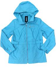 Details Womens Aqua Lightweight Removable Hood Windbreaker Jacket Trench Coat