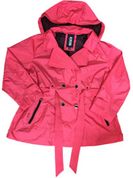 Details Womens Red Lightweight Removable Hood Windbreaker Jacket Trench Coat
