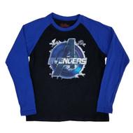 Avengers Marvel Boys Black/Blue Raglan Long Sleeve Shirt