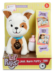 Little Tikes Just Born Puppy Mutt Toy Plush Stuffed Animal Pal - White & Brown