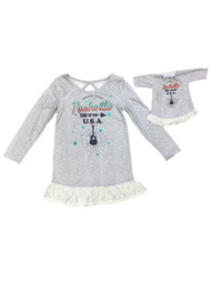 American Girl Girls Gray Nashville Nightgown & Doll Gown Set Music City 5-6