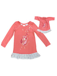 American Girl Girls Peach Guitar Nightgown & Doll Gown Set Sing Your Story 5-6