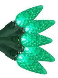 Green Faceted C-6 String Lights 50 Bulbs Christmas Holiday& Garden Lights Set