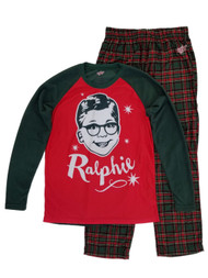 A Christmas Story Ralphie Mens Green/Red Long Sleeve Sleepwear Pajama Set