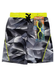 Boys Black Geometric Swim Trunks Board Shorts