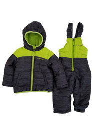 Infant Boys 2-Piece Charcoal & Lime Heayweight Coat & Snow Bibs Snowsuit Set