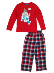 Boys 2-Piece Red & Plaid Stay Cool Walrus Sleepwear Pajama Set