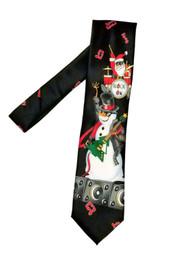 Men's Black Neck Tie Santa Snow Man Rock On Holiday Necktie