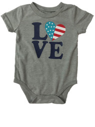 Infant Toddler Gray Love USA Single Outfit Fourth Of July Baby Bodysuit