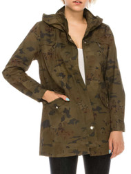 Womens Green Camo Floral Lightweight Jacket Cotton Trench Coat