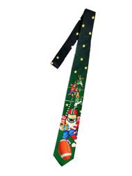 Men's Black Green Christmas Neck Tie Santa Quarterback Football Holiday Necktie