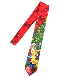 Men's Red Christmas Tree Santa List Neck Tie Holiday Necktie