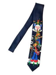 Men's Navy Christmas Rock On Reindeer Neck Tie Holiday Necktie