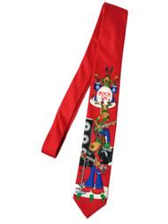 Men's Red Christmas Rock On Reindeer Neck Tie Holiday Necktie
