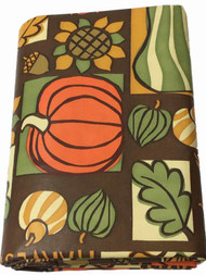 Autumn Vinyl Tablecloth With Pumpkins, Gourds & Sunflowers, 60x84 Table Cloth